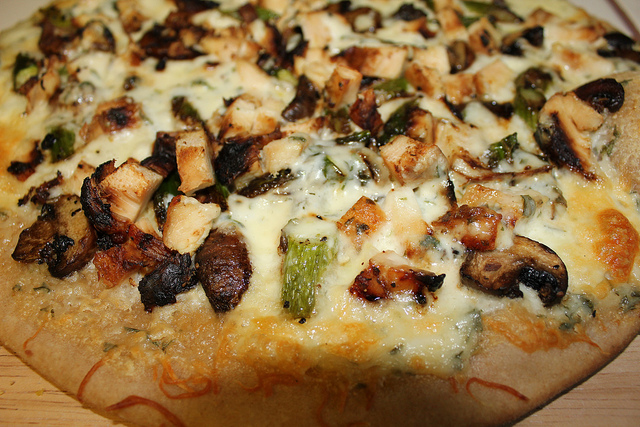 Chicken Asparagus Mushroom Alfredo Grilled Pizza