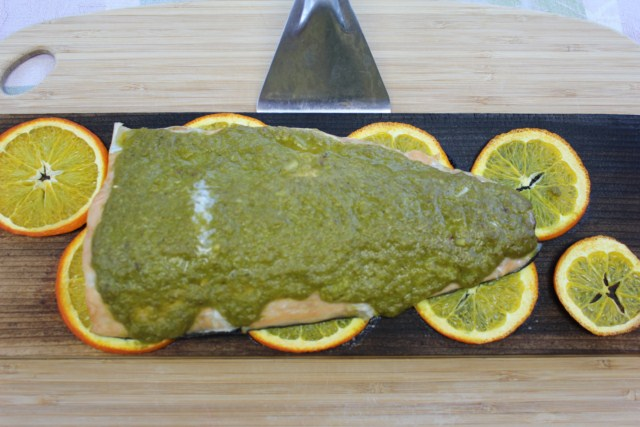 IMG 3752 640x480 Cedar Planked Orange Pesto Salmon Recipe