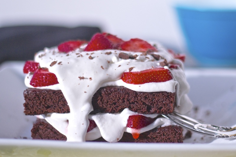 Baked on the Grill Brownies with Strawberries Dessert