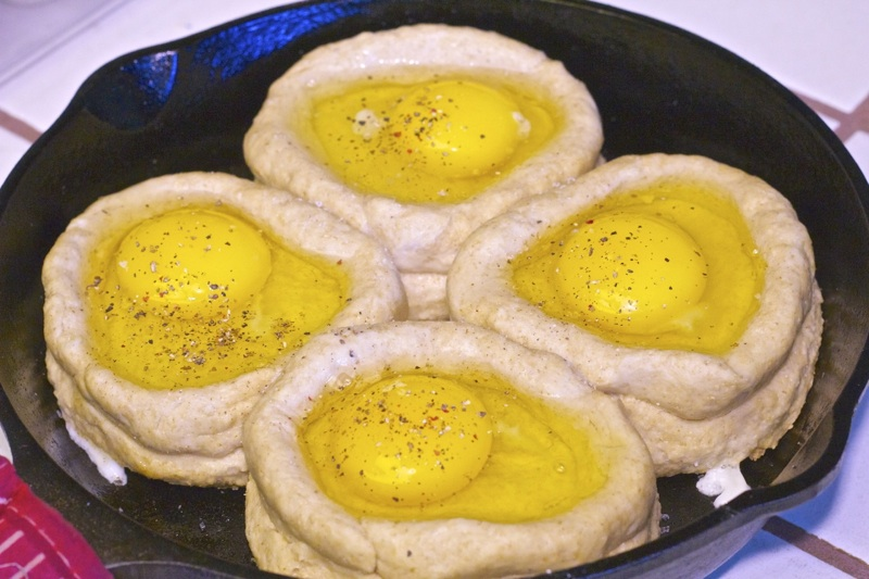 Skillet Biscuits and Eggs07 Cast iron Skillet Biscuit and Egg Boats Recipe