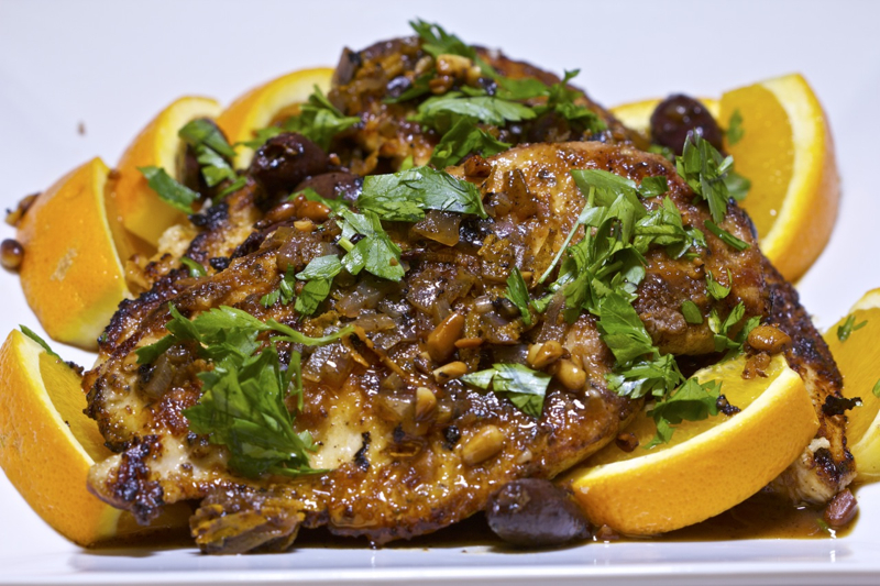 Orange-Olive Chicken Scaloppine Recipe