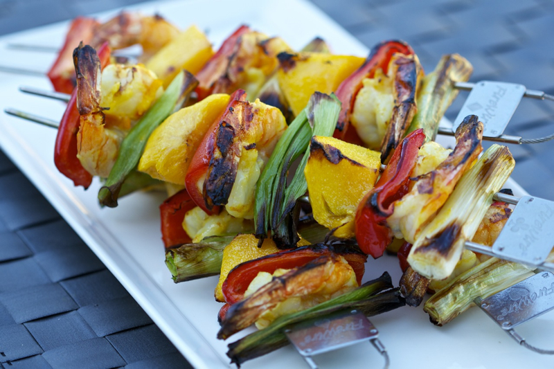 Tropical Grilled Shrimp and Mango Kabobs