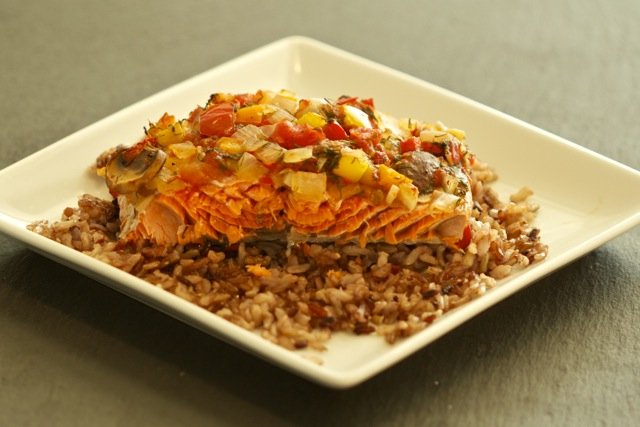 Grilling Baked Dilled Salmon on Rice Recipe
