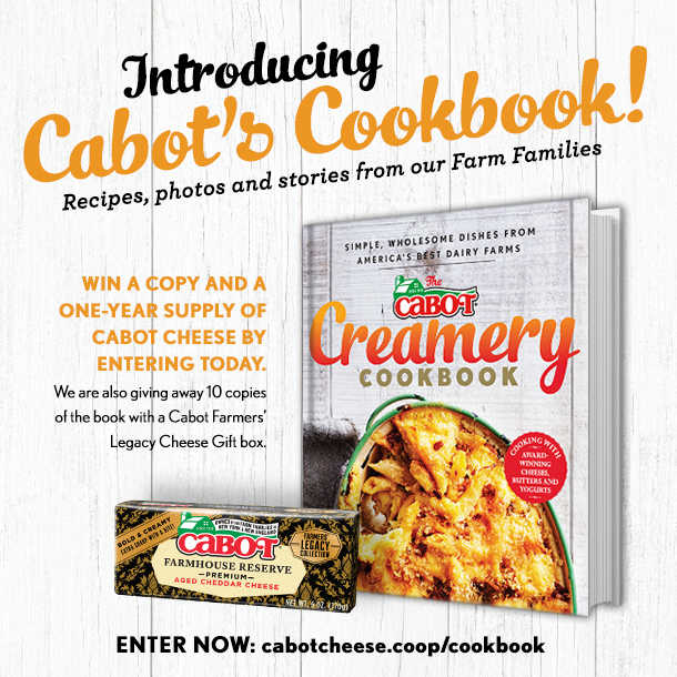 Win a Year's Supply of Cabot Cheese plus a Cookbook