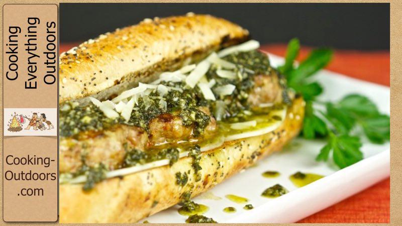 Grilled Italian Meatball Sandwich with Pesto Sauce Recipe