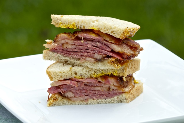 Honey Mustard Crusted Baked Corned Beef Sandwich