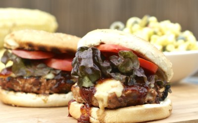 BBQ Pork Burgers with Bacon and Cabot Smoky Bacon Cheddar