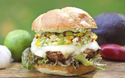 Spicy Southwest Grilled Pork Burger with Tomatillo Salsa