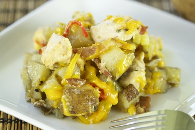 Loaded Idaho Potato Chicken Casserole Dutch oven Recipe
